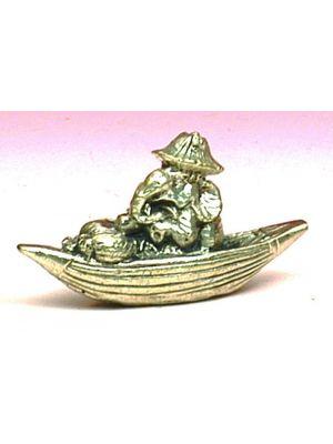 Mini Metal Ganesha In A Boat