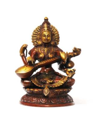 Brass Sitting Saraswati 10