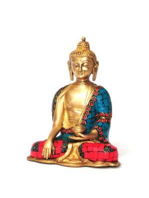 Brass Buddha with Stone Work 6.5