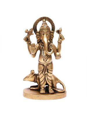 Brass Standing Ganesha with Mouse 5.5