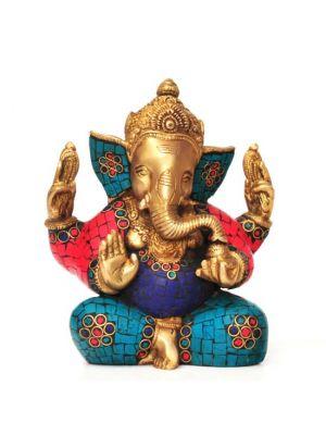 Brass Ganesha with Stone Work 6.75