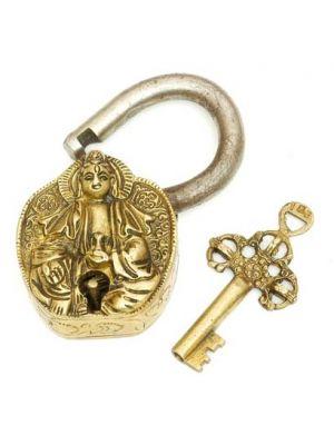 Brass Art Lock W/Key Quanyin 4.5