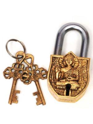 Brass Lock with Keys Buddha 3.5