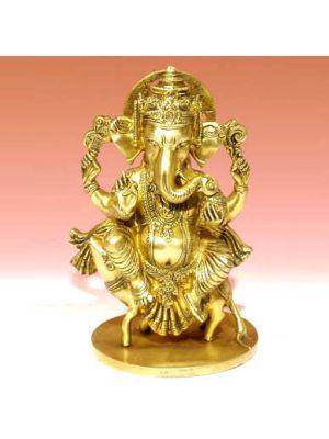 Brass Ganesha Sitting On Rat 11