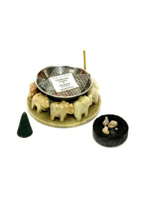 Charcoal-Cone-Stick Elephant Incense Burner