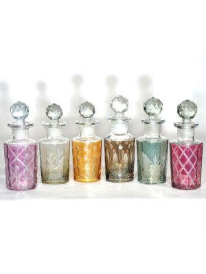 Hand Cut Glass De-Canters 100ml Set/6