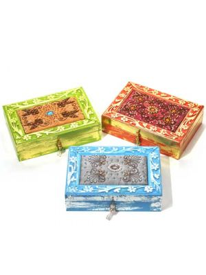 Wood Boxes with Embroidered Fabric Top 10