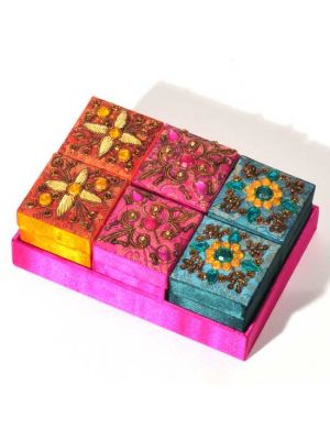 Embroidered Boxes in Tray Set/6 2