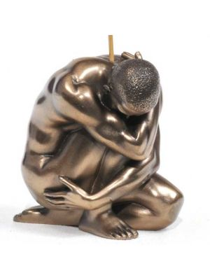 Crouching Man Incense Burner - Resin & Bronze