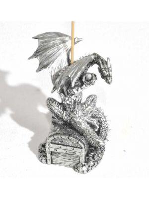 Fascinating Dragon Incense burner on Jewel box in Silver color