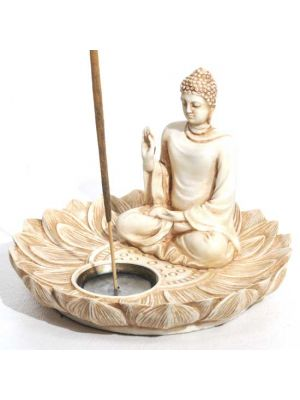Lotus Blessing Buddha Incense & Cone Burner Aintique Ivory