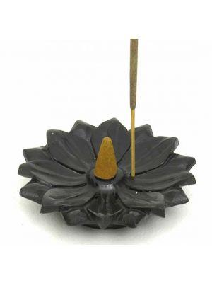 Black Stone Incense Burner in the Lotus Design, 4