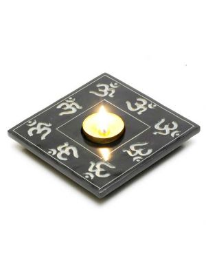 Black Stone Om Candle and Incense Holder 5
