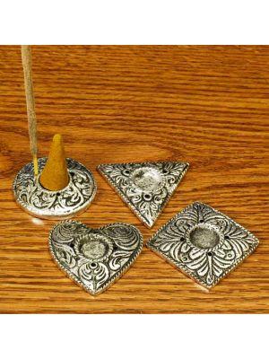 Incense Burner White Metal Plates Set/4. 1.5