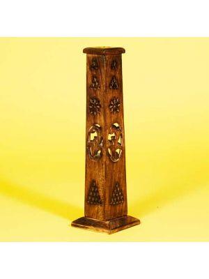 Burnt Wood Hand Carved/Filigree Tower Incense Holder 12