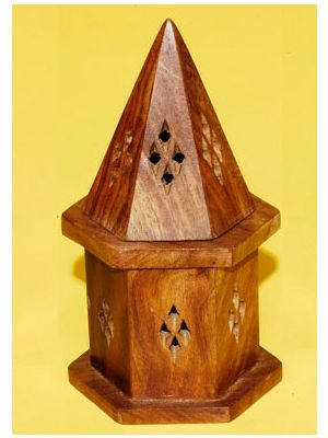 Incense Cone Burner Wood.Storage 6