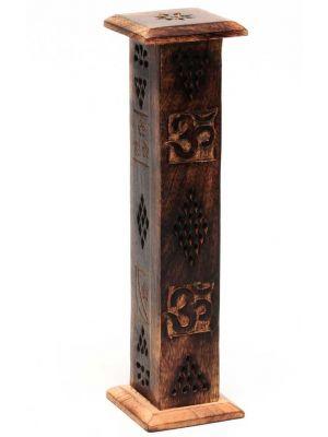 Om Mango Wood Incense Burner Tower
