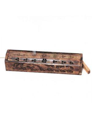 Carved Mango Wood Incense Burner Box