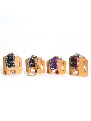 Wood Elephant Keychains Set/4