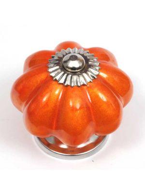 Ceramic Pearlescent Orange Flower Knob.