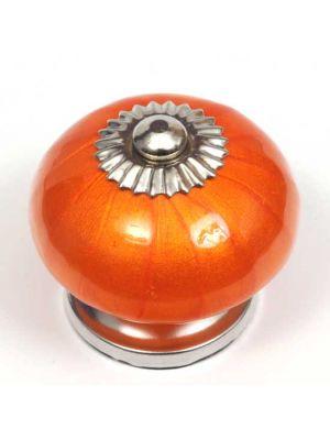 Ceramic Pearlescent Orange Round Knob.