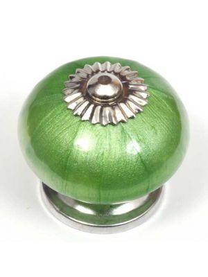 Ceramic Pearlescent Green Round Knob.