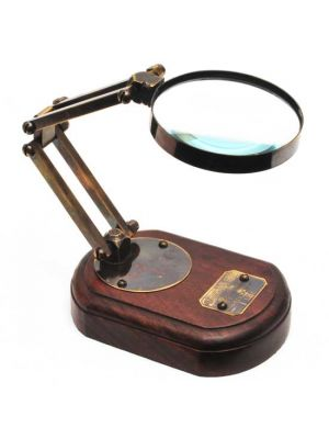 Adjustable Magnifying Glass on Wood Base
