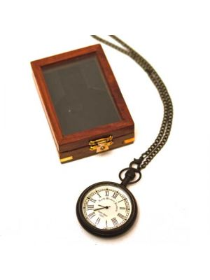 Brass Pocket Watch with Chain in Wood Box