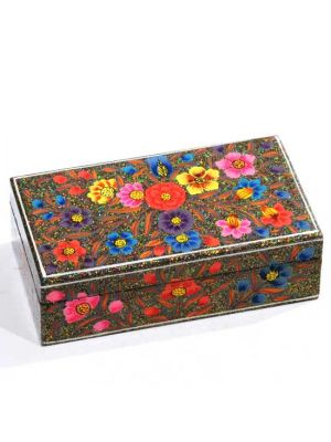 Papier-Mâché Glitter Box With Hand Painted Floral Detail