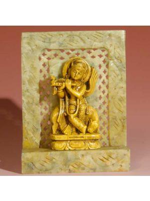 Stone Shrine Krishna  With Cow  4