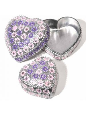Embellished Tin Heart Boxes Set/2
