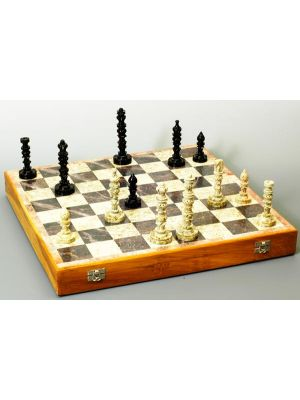 Beautiful Hand Carved Stone 18 inch  Chess Set