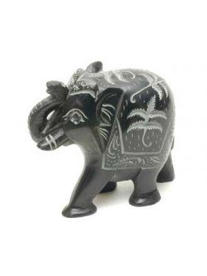 Stone Black Elephant Carved 2.5