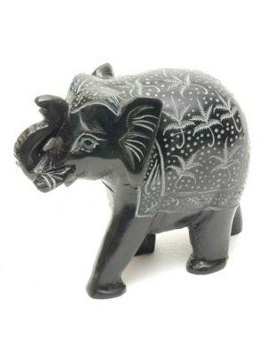 Stone Elephant Black Carved 4