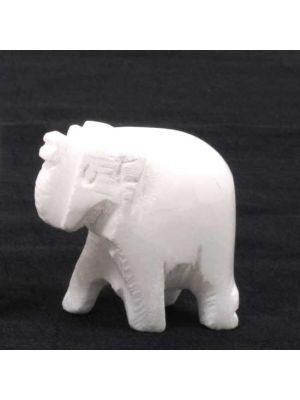 Hand Carved White Stone Elephant 1.5