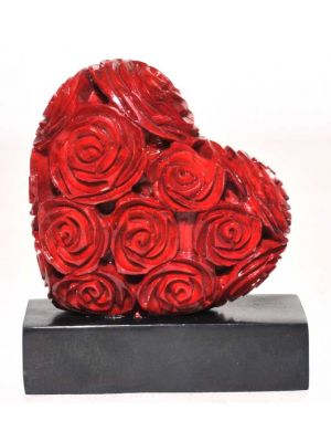 Hand Carved Soapstone Heart with Roses