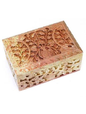 Stone Box Carved 4X6X3