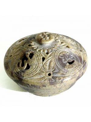 Stone Box Hand Carved Sun/Moon/Om 4
