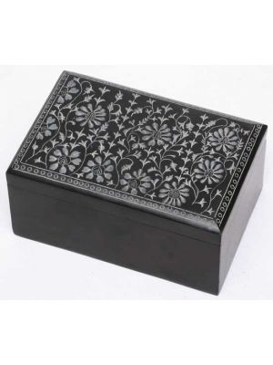 Floral Black Soapstone Box 4