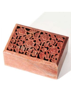 Carved Soapstone Floral Box 6