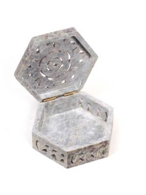 Hand Carved Hexagon Soap Stone Box. 5