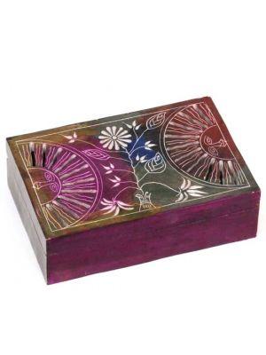 Dyed Multicolor Rectangular Soap Stone Box 6x4