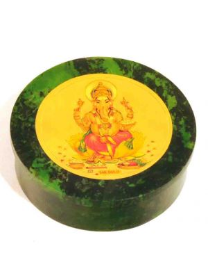 Stone Round Box 3D Ganesha 4