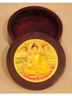Stone Round Box 3D Buddha 4
