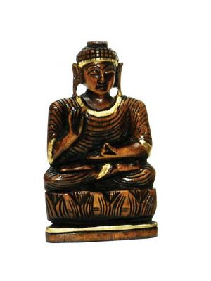Hand Painted & Carved Wood Buddha 5