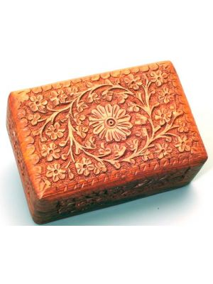 Wood Box Hand Carved on all 5 Sides 4X6