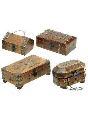 Wood & Iron Boxes Set/4 Assorted