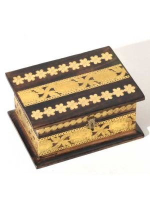 Wood Box with Gold Paper Flowers 6