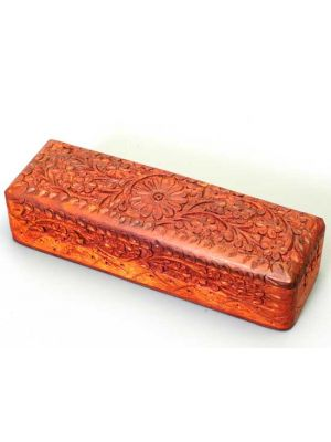 Wood Pencil Box Hand Carved     8x2