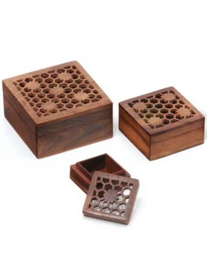 Filigree Wood Boxes Set/3